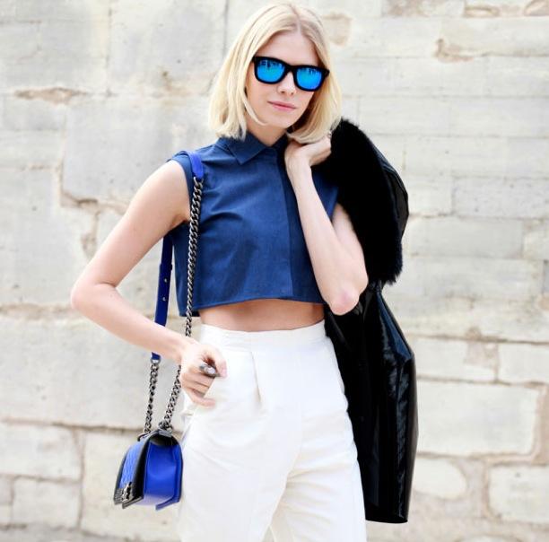 who-what-wear-paris-fashion-week-fw-2013-street-style-blue-mirrored-sunglasses-elena-perminova-russian-blonde-cropped-collared-denim-shirt-high-waist-white-pants-trousers-chanel-bagfur-h